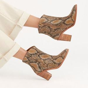 Free People In Tan Barclay Snake Print Ankle Boot